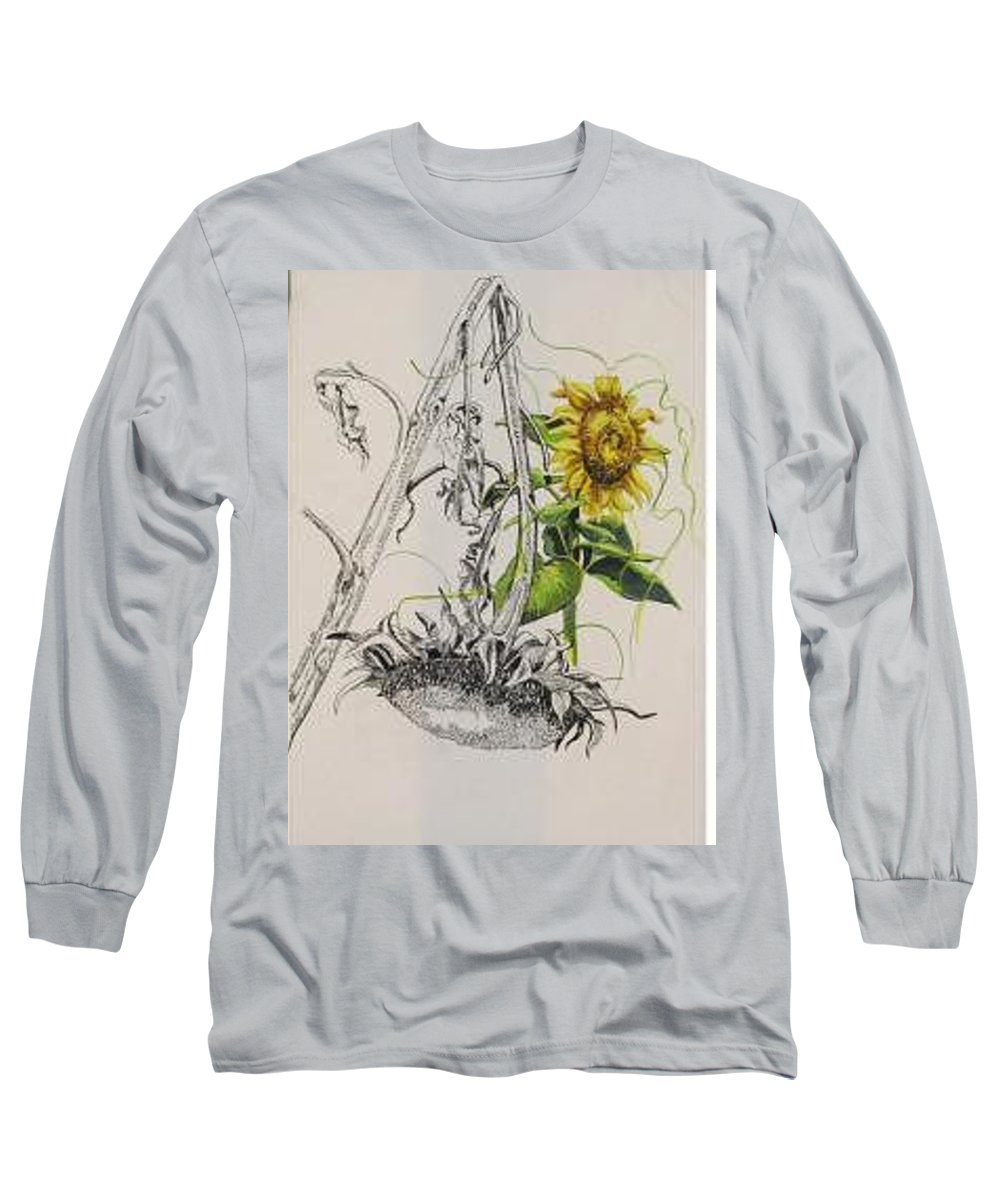 Large Sunflowers Featured Long Sleeve T-Shirt featuring the painting Sunflowers by Wanda Dansereau