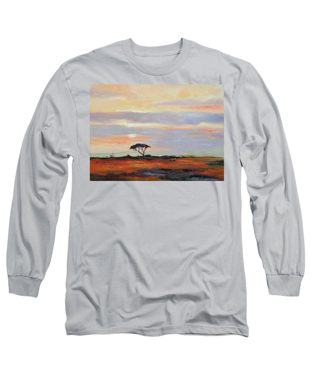 Landscape Long Sleeve T-Shirt featuring the painting Sunset On The Serengheti by Ginger Concepcion