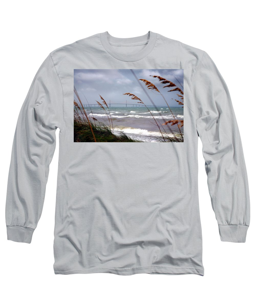 Sunshine Long Sleeve T-Shirt featuring the photograph Sunshine Skyway Bridge Viewed From Fort De Soto Park by Mal Bray
