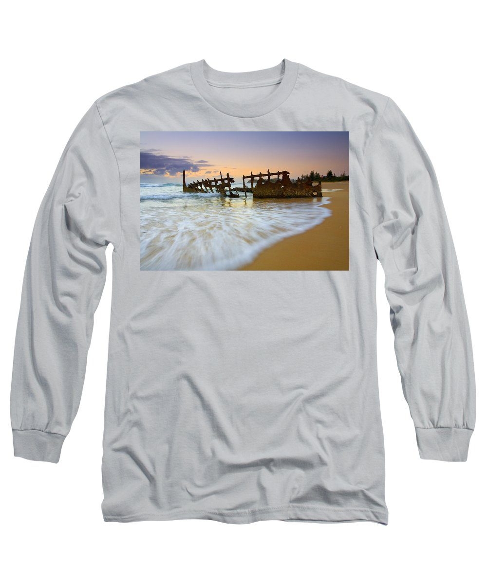 Shipwreck Long Sleeve T-Shirt featuring the photograph Swallowed By The Tides by Mike Dawson