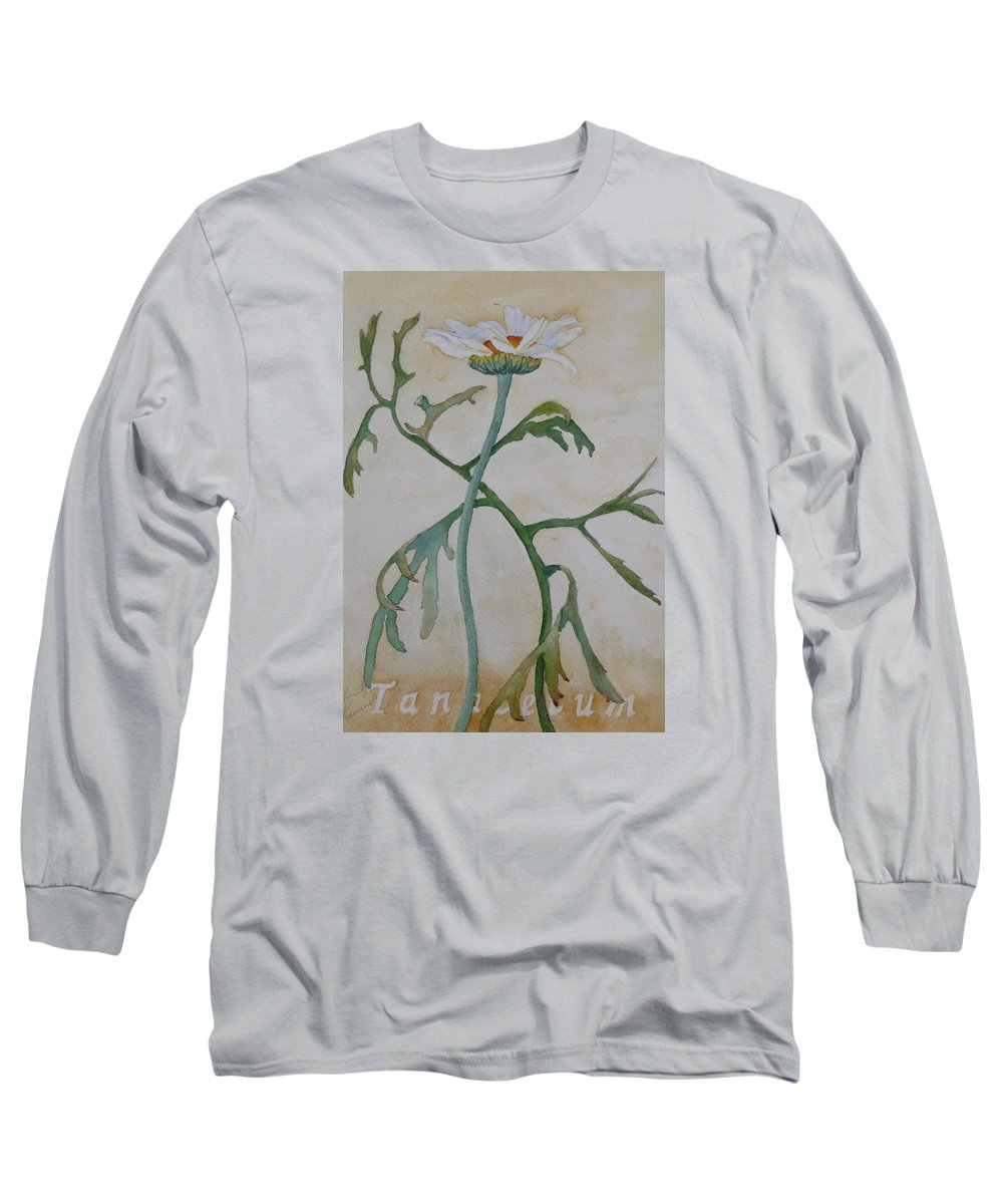 Flower Long Sleeve T-Shirt featuring the painting Tanacetum by Ruth Kamenev
