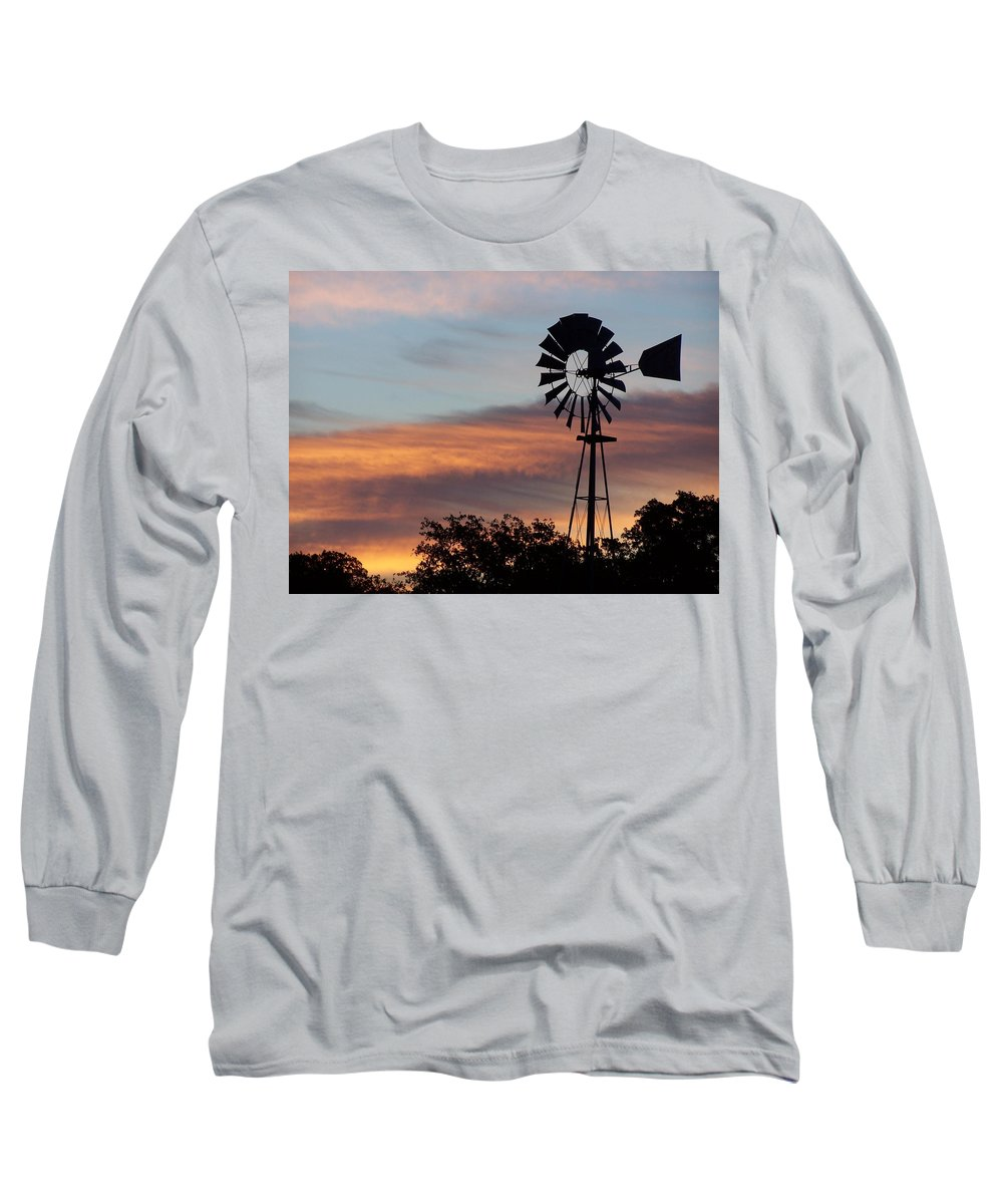 Windmill Long Sleeve T-Shirt featuring the photograph Texas Sunrise by Gale Cochran-Smith