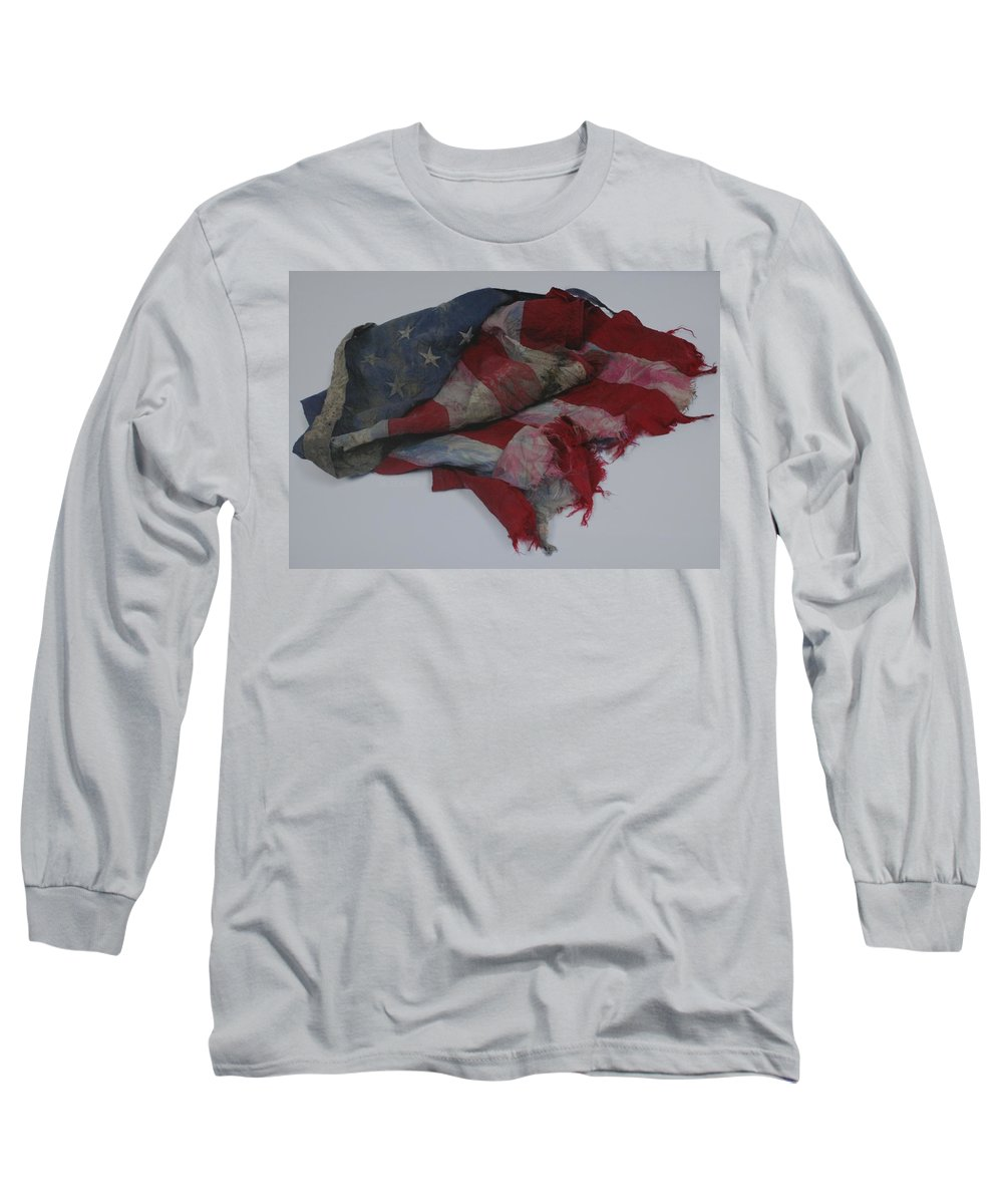 911 Long Sleeve T-Shirt featuring the photograph The 9 11 W T C Fallen Heros American Flag by Rob Hans