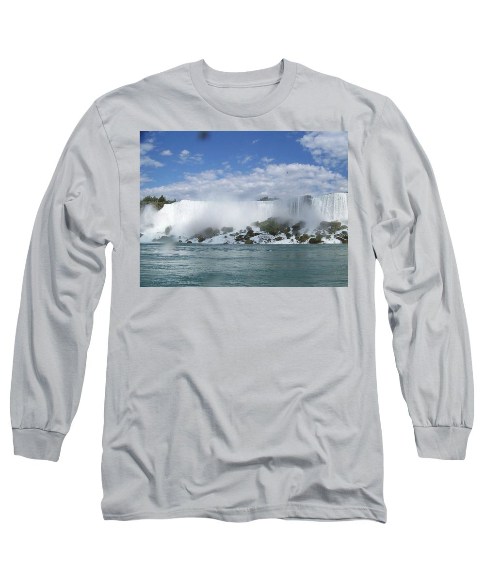 Waterfall Long Sleeve T-Shirt featuring the photograph The American Falls At Niagra by Laurie Paci