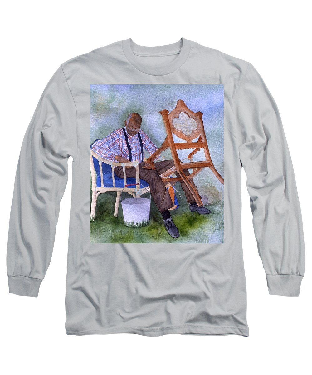 Portrait Long Sleeve T-Shirt featuring the painting The Art Of Caning by Jean Blackmer