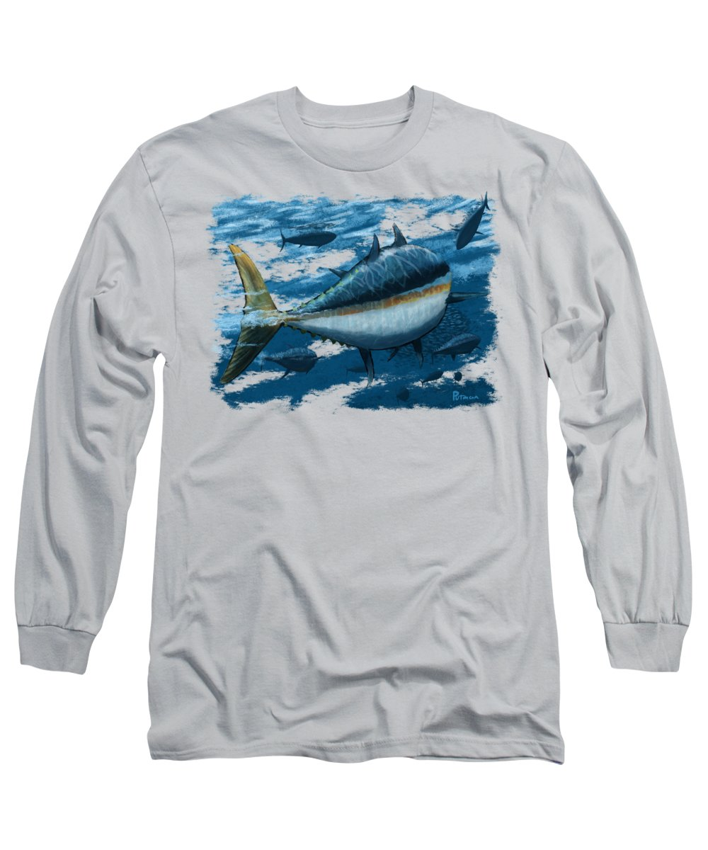 Tuna Long Sleeve T-Shirt featuring the digital art The Chase by Kevin Putman