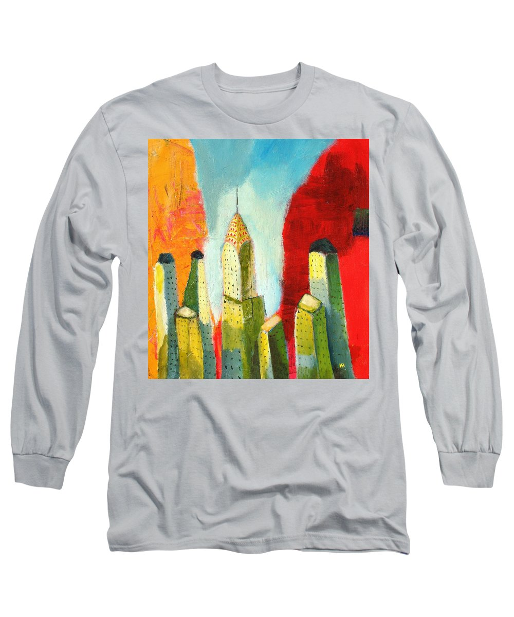 Abstract Cityscape Long Sleeve T-Shirt featuring the painting The Chrysler In Colors by Habib Ayat