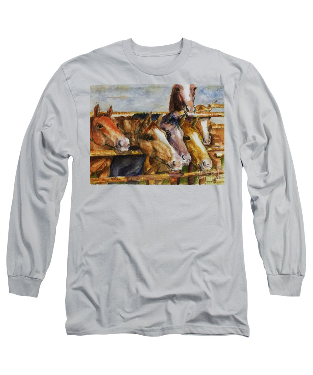 Horses Long Sleeve T-Shirt featuring the painting The Colorado Horse Rescue by Frances Marino