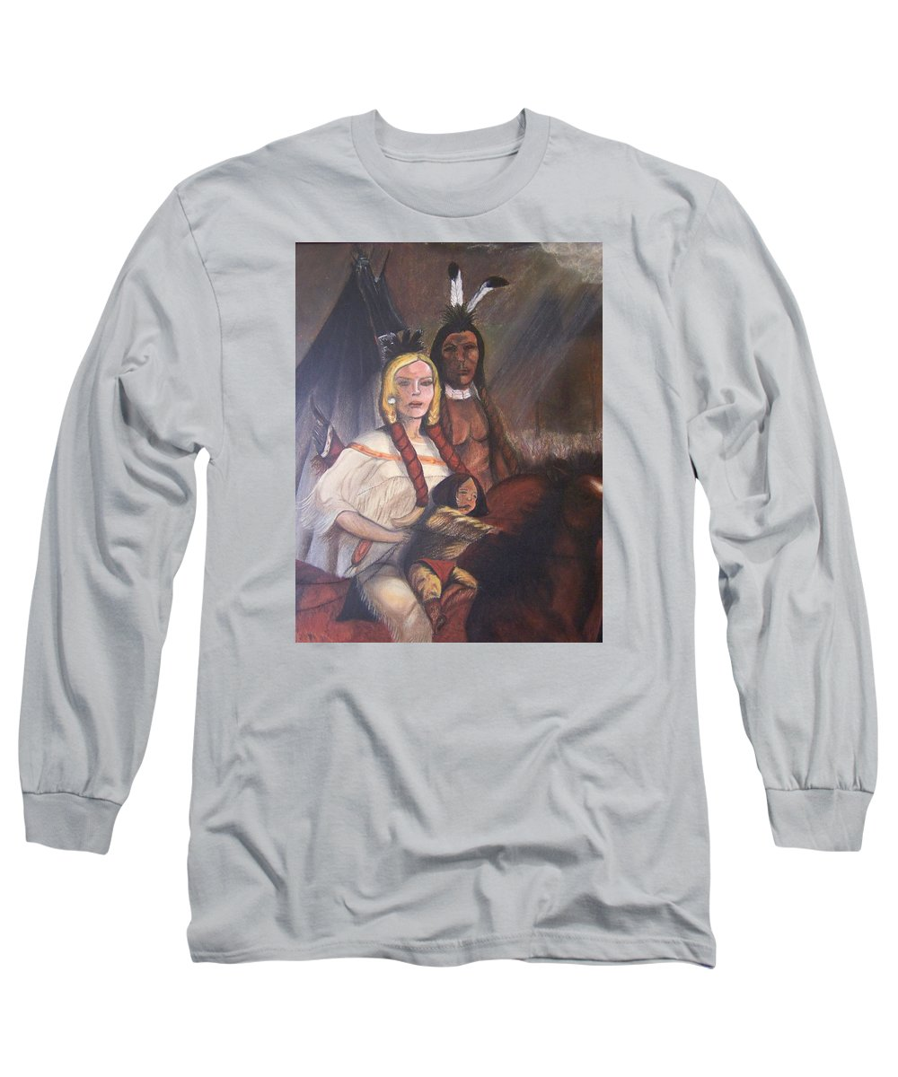 Artwork Long Sleeve T-Shirt featuring the painting The Cynthia Ann Parker Family by Laurie Kidd