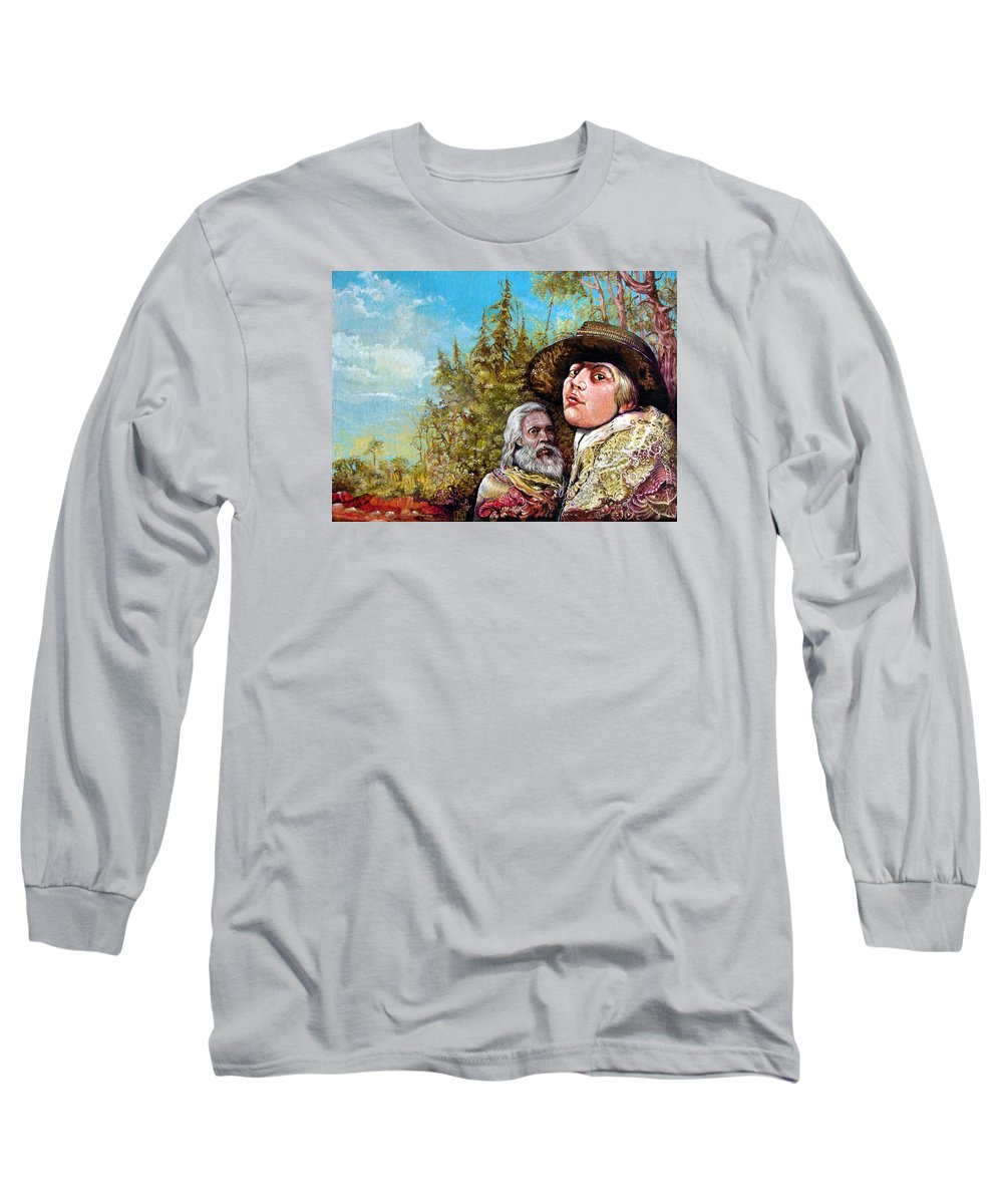 Surrealism Long Sleeve T-Shirt featuring the painting The Dauphin And Captain Nemo Discovering Bogomils Island by Otto Rapp