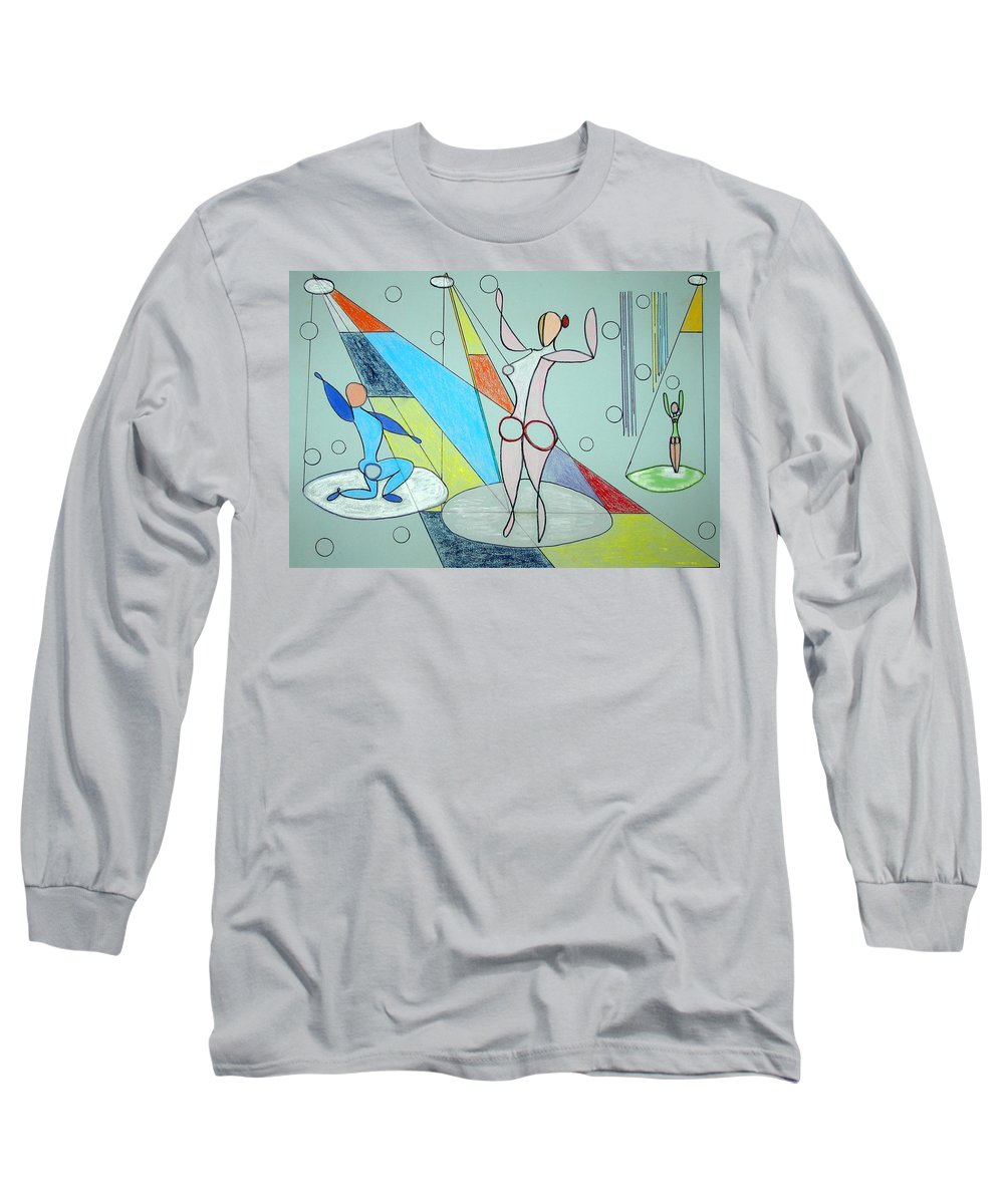 Juggling Long Sleeve T-Shirt featuring the drawing The Jugglers by J R Seymour
