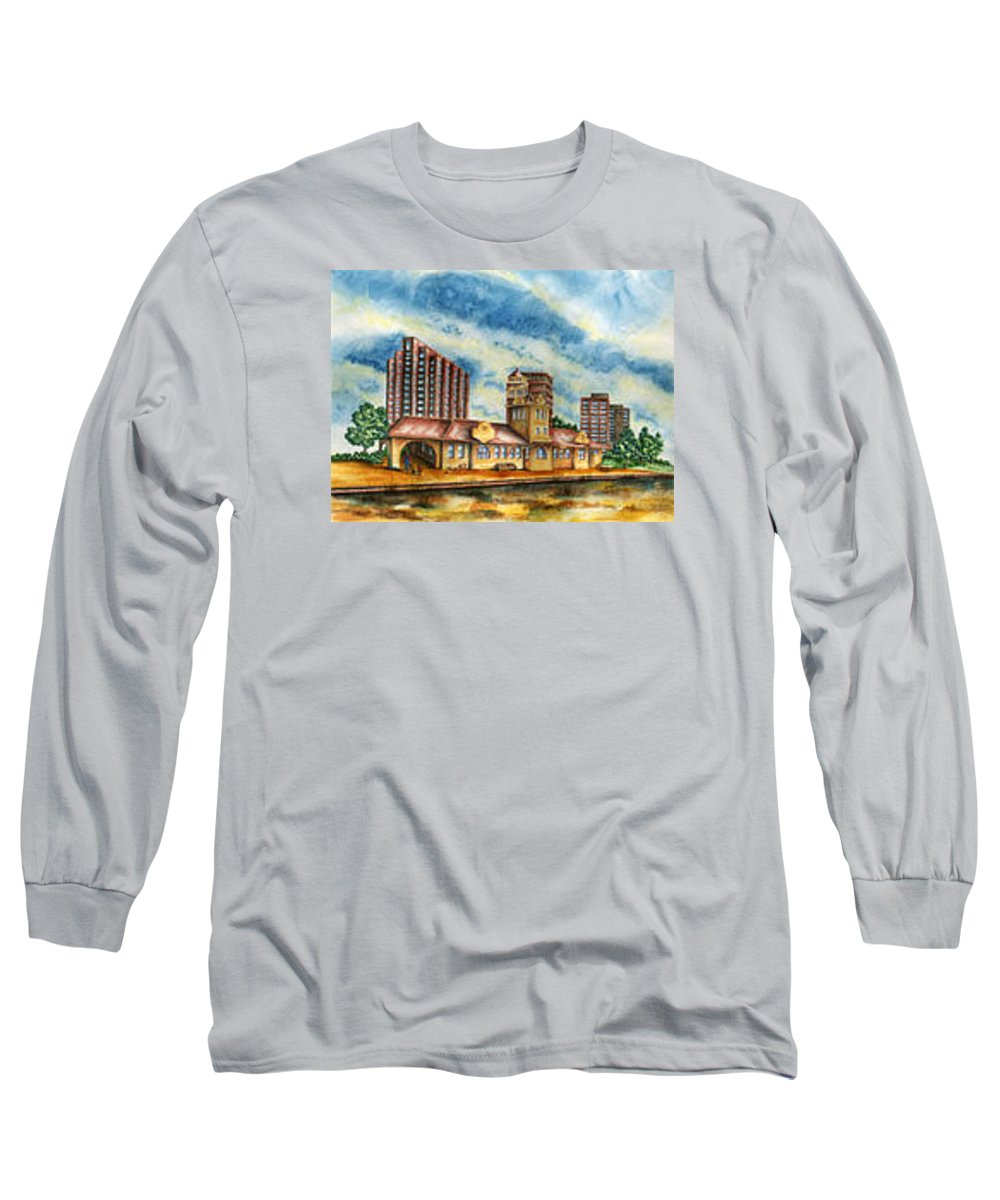 Cityscape Long Sleeve T-Shirt featuring the painting The Old Train Station  by Ragon Steele