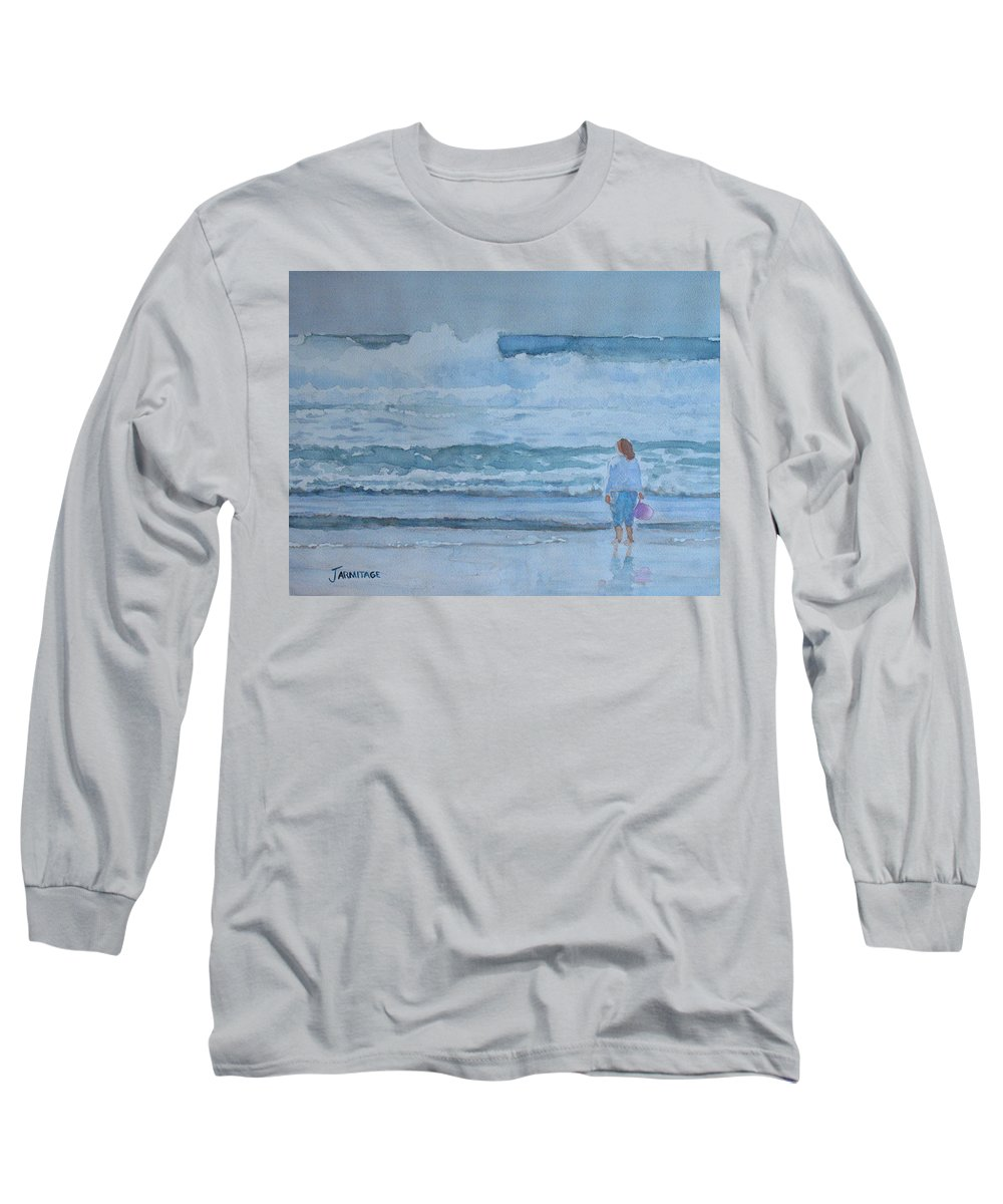 Bucket Long Sleeve T-Shirt featuring the painting The Pink Bucket by Jenny Armitage