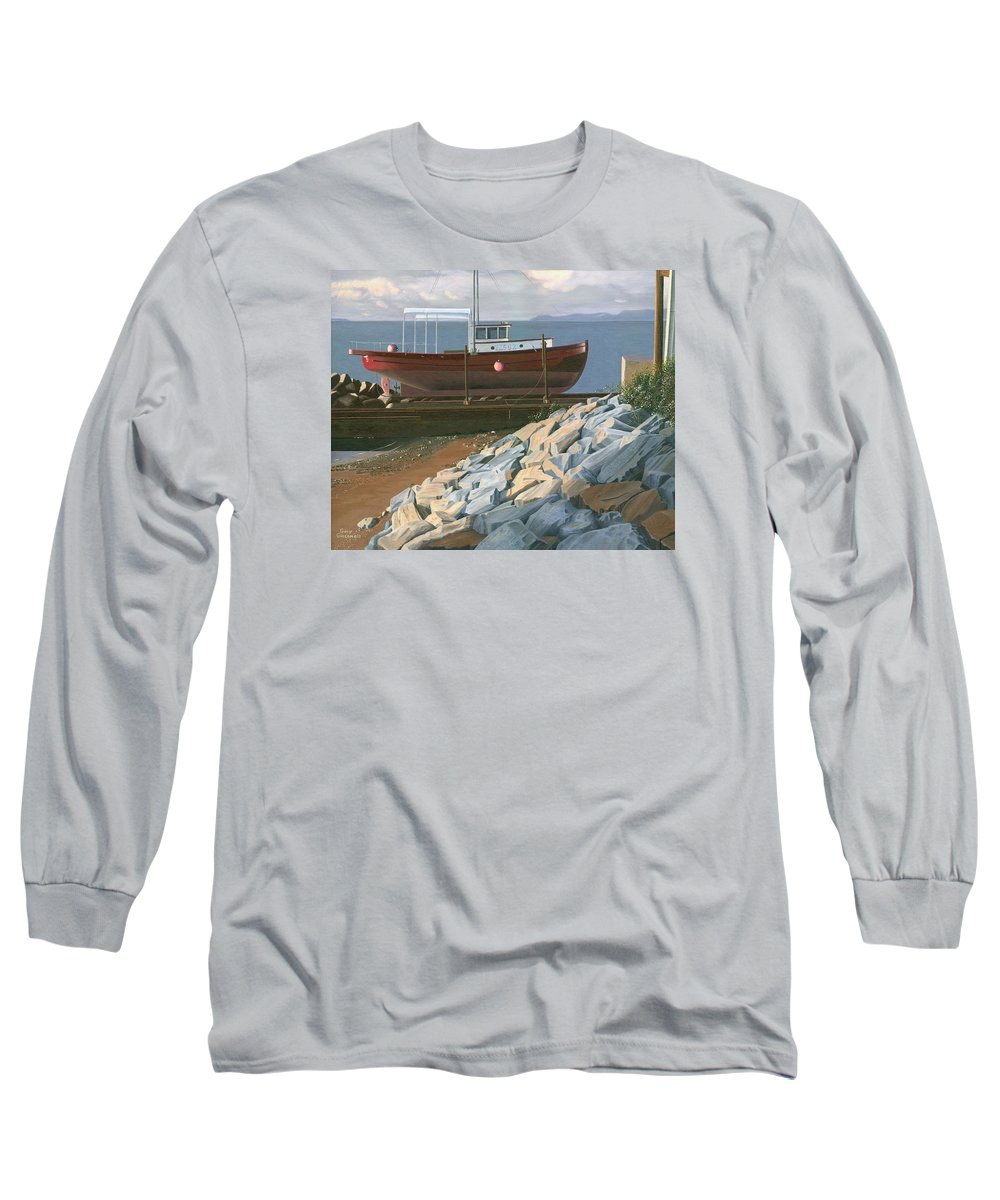 Ship Long Sleeve T-Shirt featuring the painting The Red Troller Revisited by Gary Giacomelli