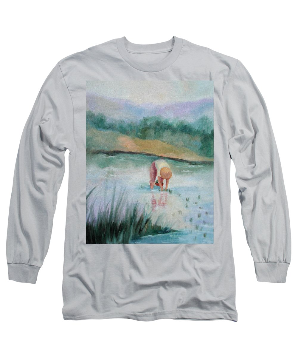 Figurative Long Sleeve T-Shirt featuring the painting The Rice Planter by Ginger Concepcion