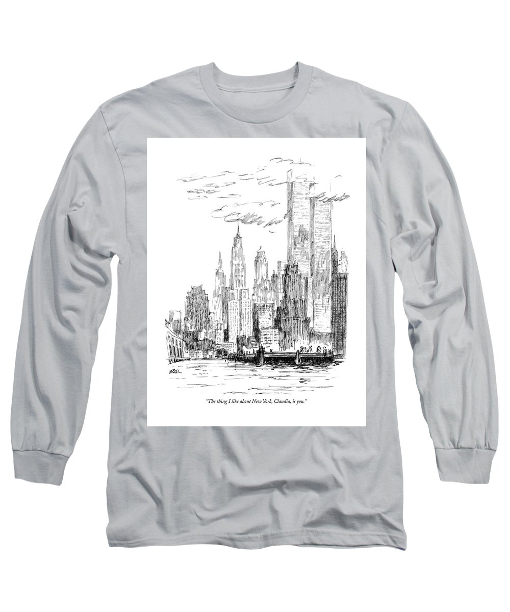 Nyc Long Sleeve T-Shirt featuring the drawing The Thing I Like About New York by Robert Weber