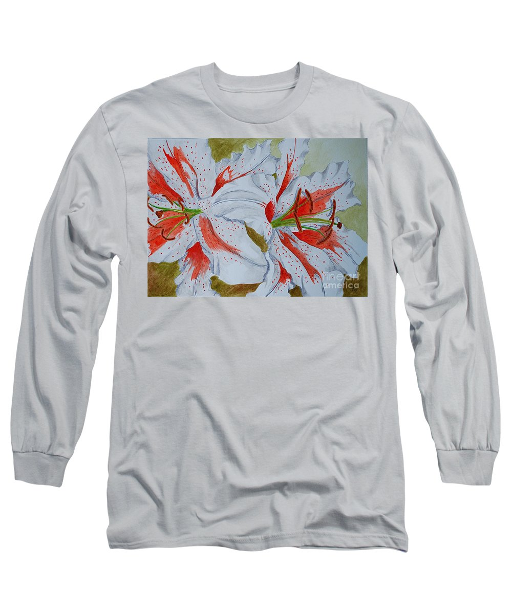 Lilly Red Lilly Tiger Lilly Long Sleeve T-Shirt featuring the painting Tiger Lilly by Herschel Fall