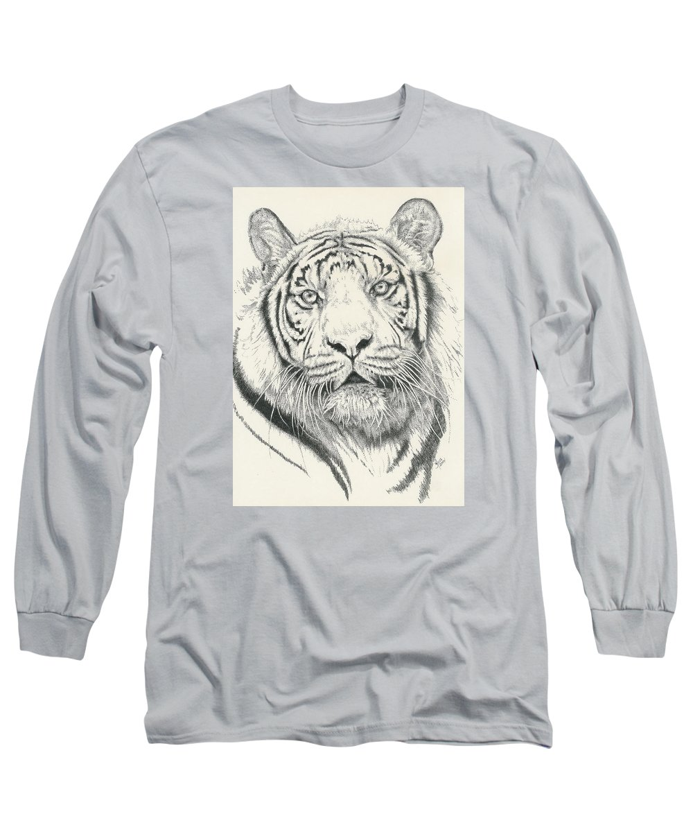 Tiger Long Sleeve T-Shirt featuring the drawing Tigerlily by Barbara Keith
