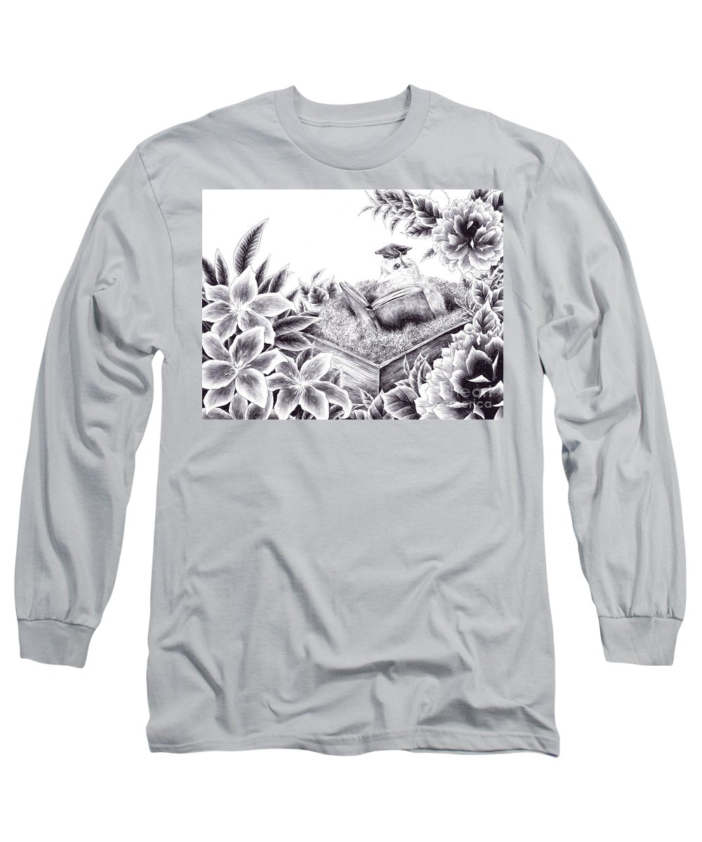 Bird Long Sleeve T-Shirt featuring the drawing To The Future by Alice Chen
