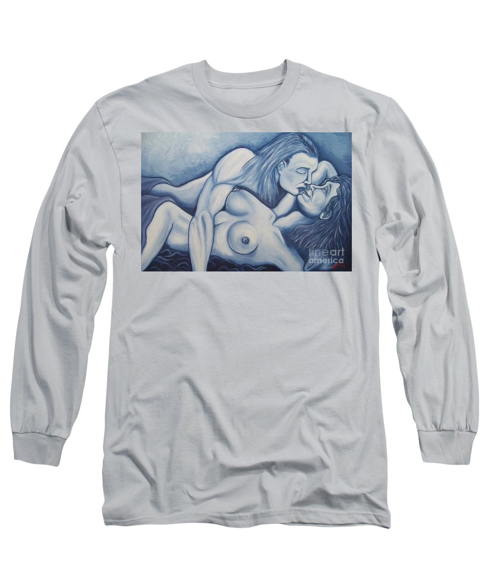 Michael Long Sleeve T-Shirt featuring the painting Together by Michael TMAD Finney