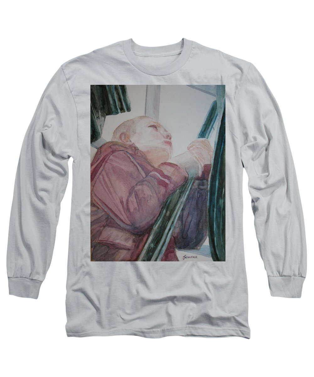Boy Long Sleeve T-Shirt featuring the painting Top Of The Lighthouse Stairs by Jenny Armitage