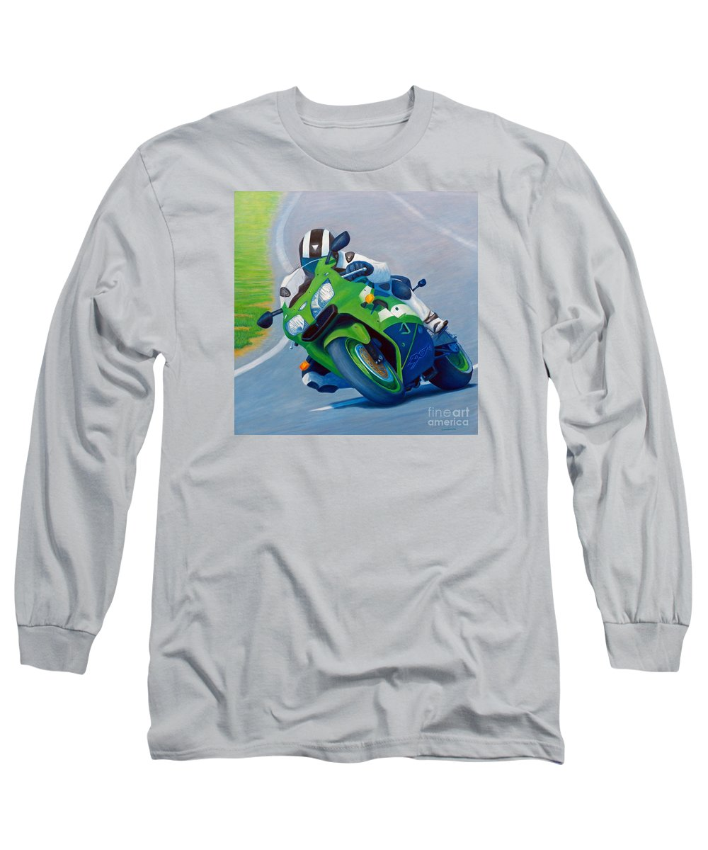 Motorcycle Long Sleeve T-Shirt featuring the painting Track Day - Kawasaki Zx9 by Brian Commerford