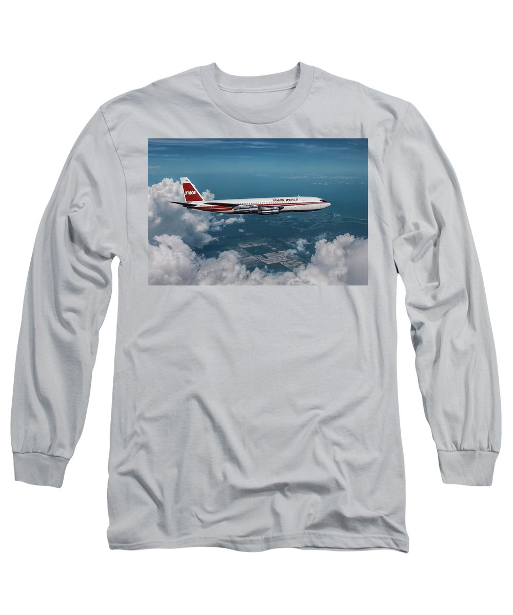 Commercial Airplane Mixed Media Long Sleeve T-Shirts