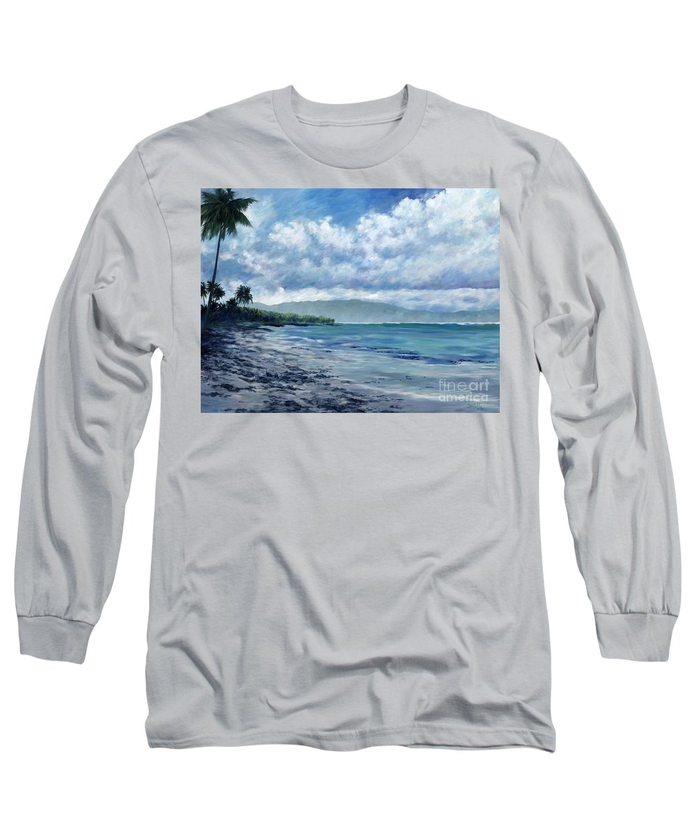Seascape Long Sleeve T-Shirt featuring the painting Tropical Rain by Danielle Perry