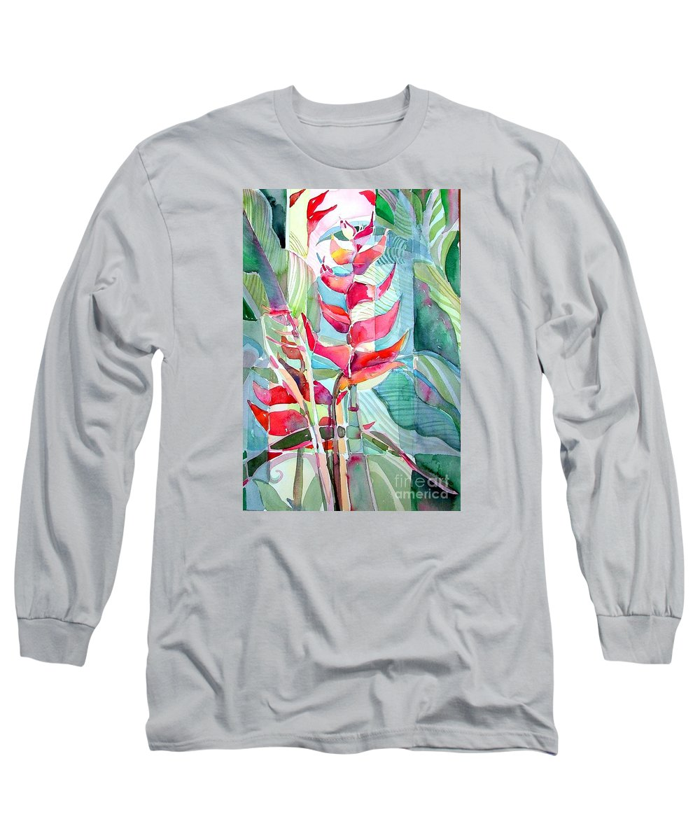 Landscape Long Sleeve T-Shirt featuring the painting Tropicana Red by Mindy Newman