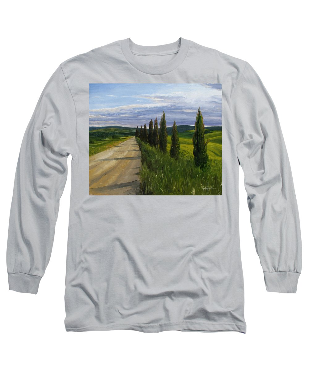 Long Sleeve T-Shirt featuring the painting Tuscany Road by Jay Johnson