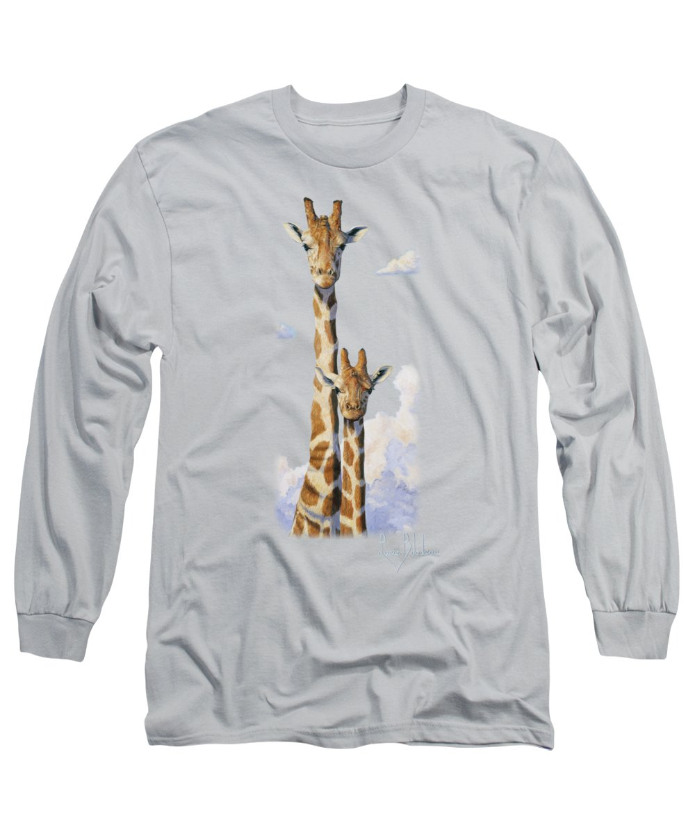Giraffe Long Sleeve T-Shirt featuring the painting Two Heads In The Clouds by Lucie Bilodeau