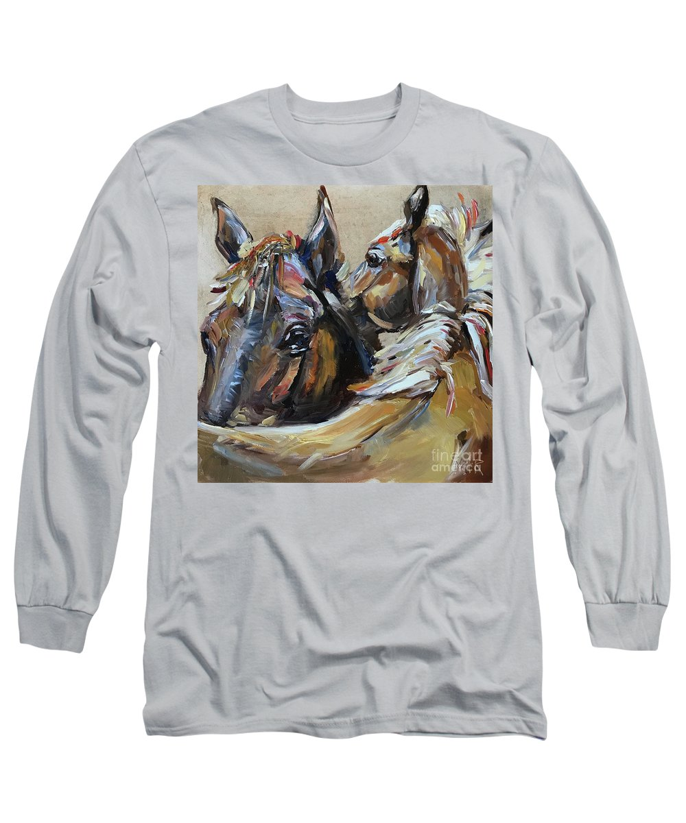 Horse Long Sleeve T-Shirt featuring the painting Two Horses by Maria Reichert