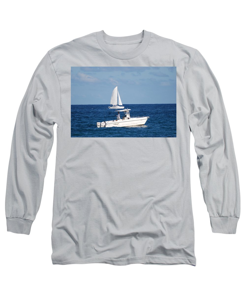 Sea Scape Long Sleeve T-Shirt featuring the photograph Two Ships That Pass Thru The Day by Rob Hans