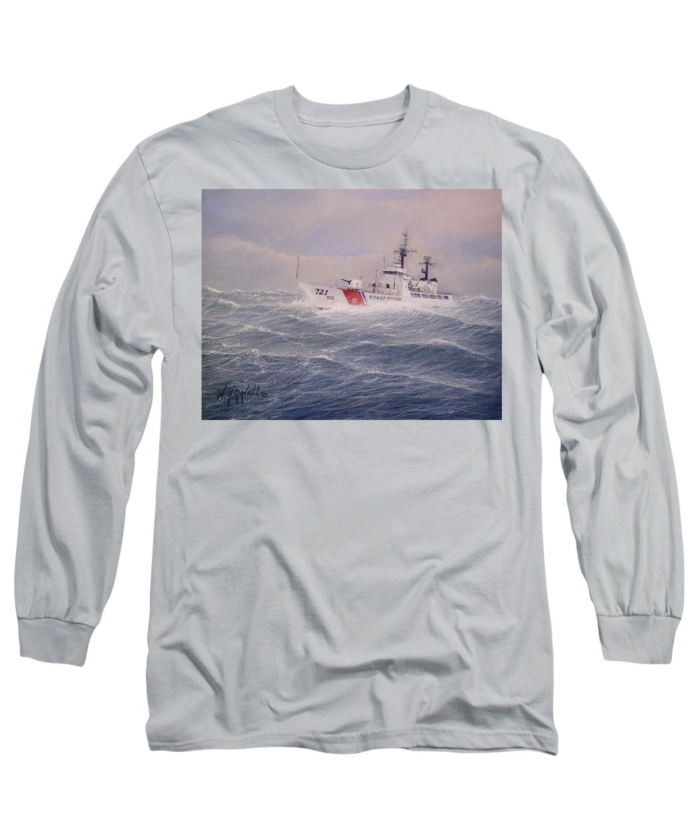 Ship Long Sleeve T-Shirt featuring the painting U. S. Coast Guard Cutter Gallitin by William H RaVell III