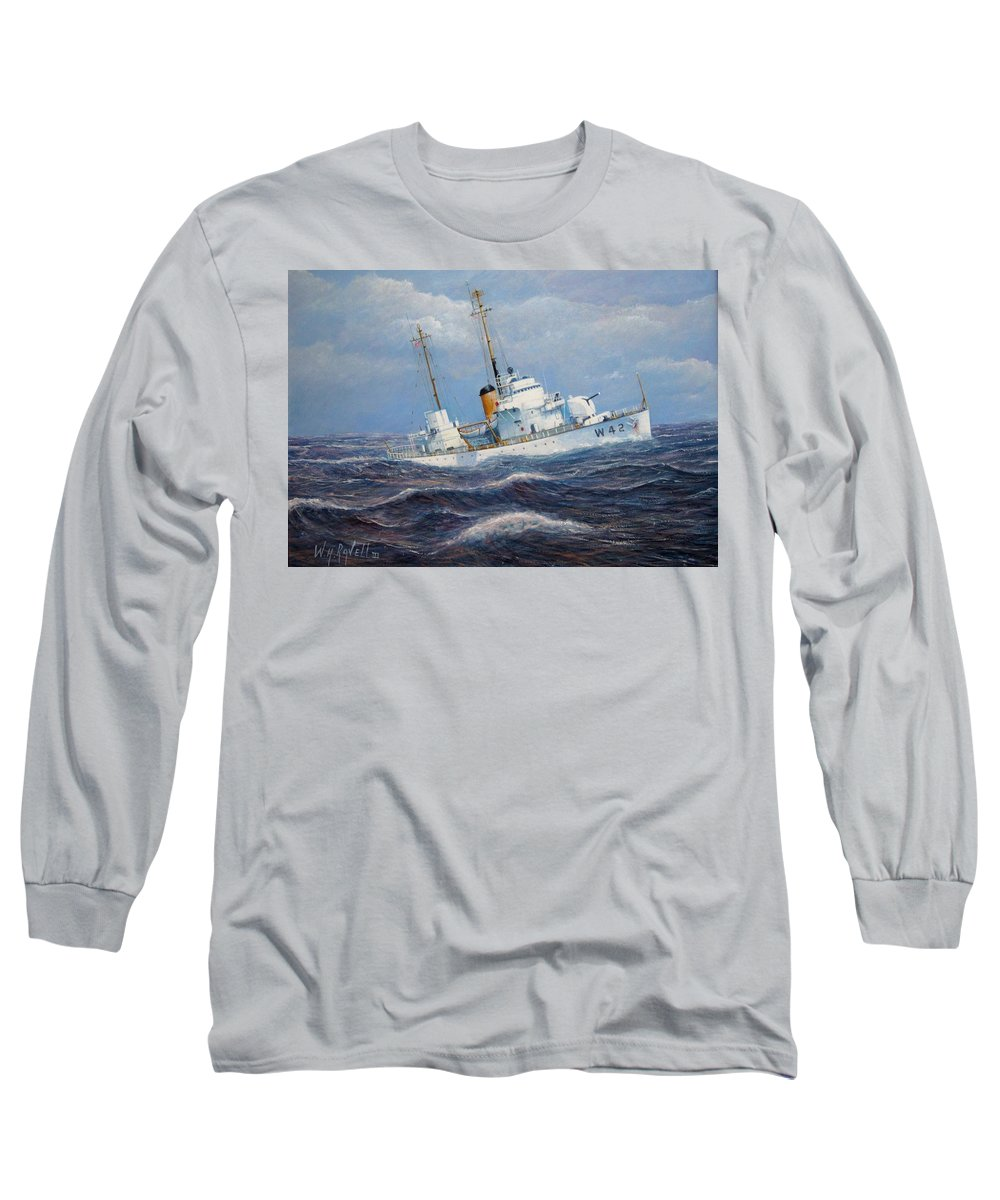 Marine Art Long Sleeve T-Shirt featuring the painting U. S. Coast Guard Cutter Sebago Takes A Roll by William H RaVell III