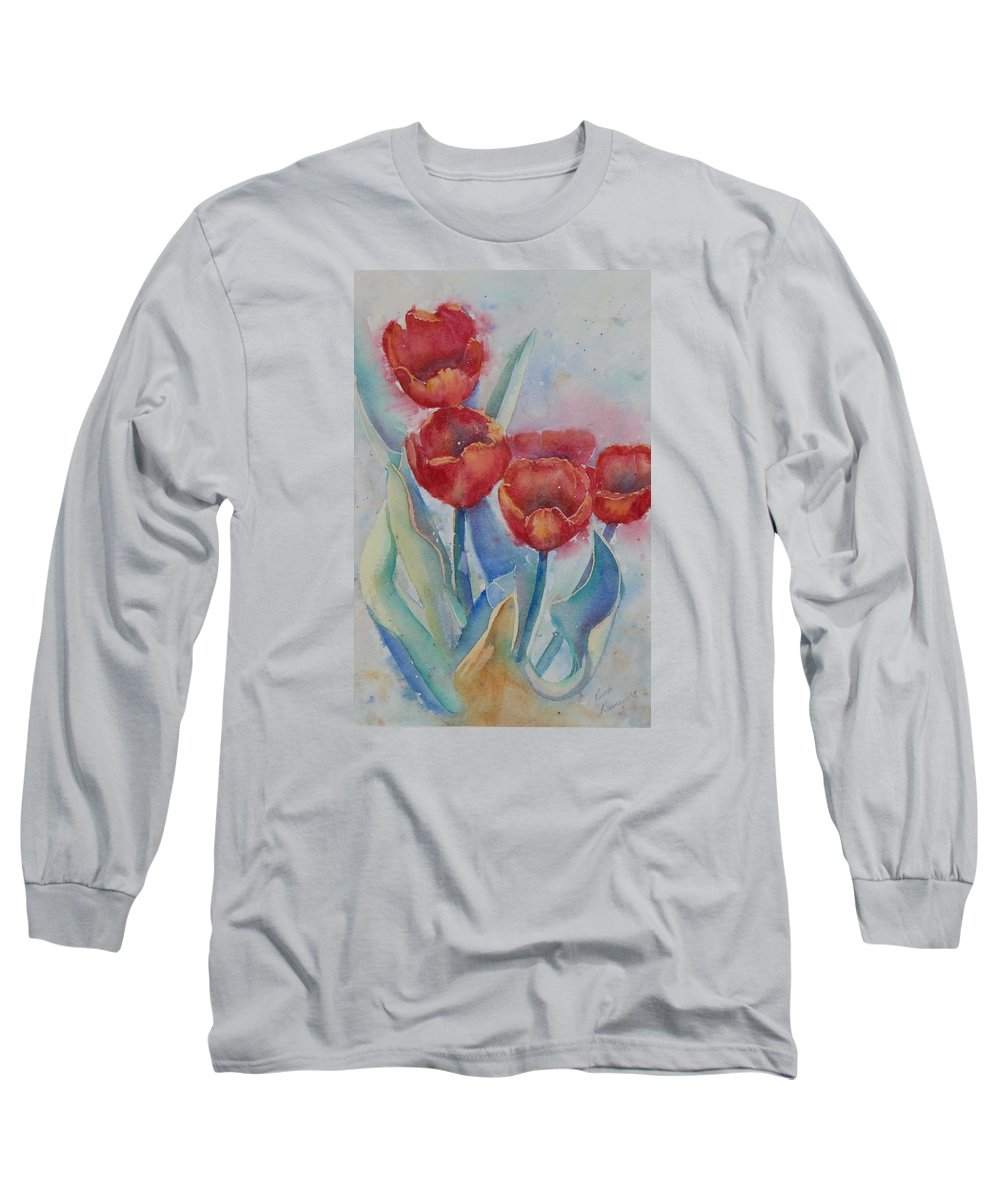 Flowers Long Sleeve T-Shirt featuring the painting Undersea Tulips by Ruth Kamenev