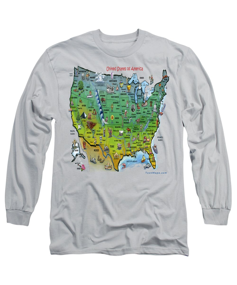 Map Long Sleeve T-Shirt featuring the painting Usa Cartoon Map by Kevin Middleton