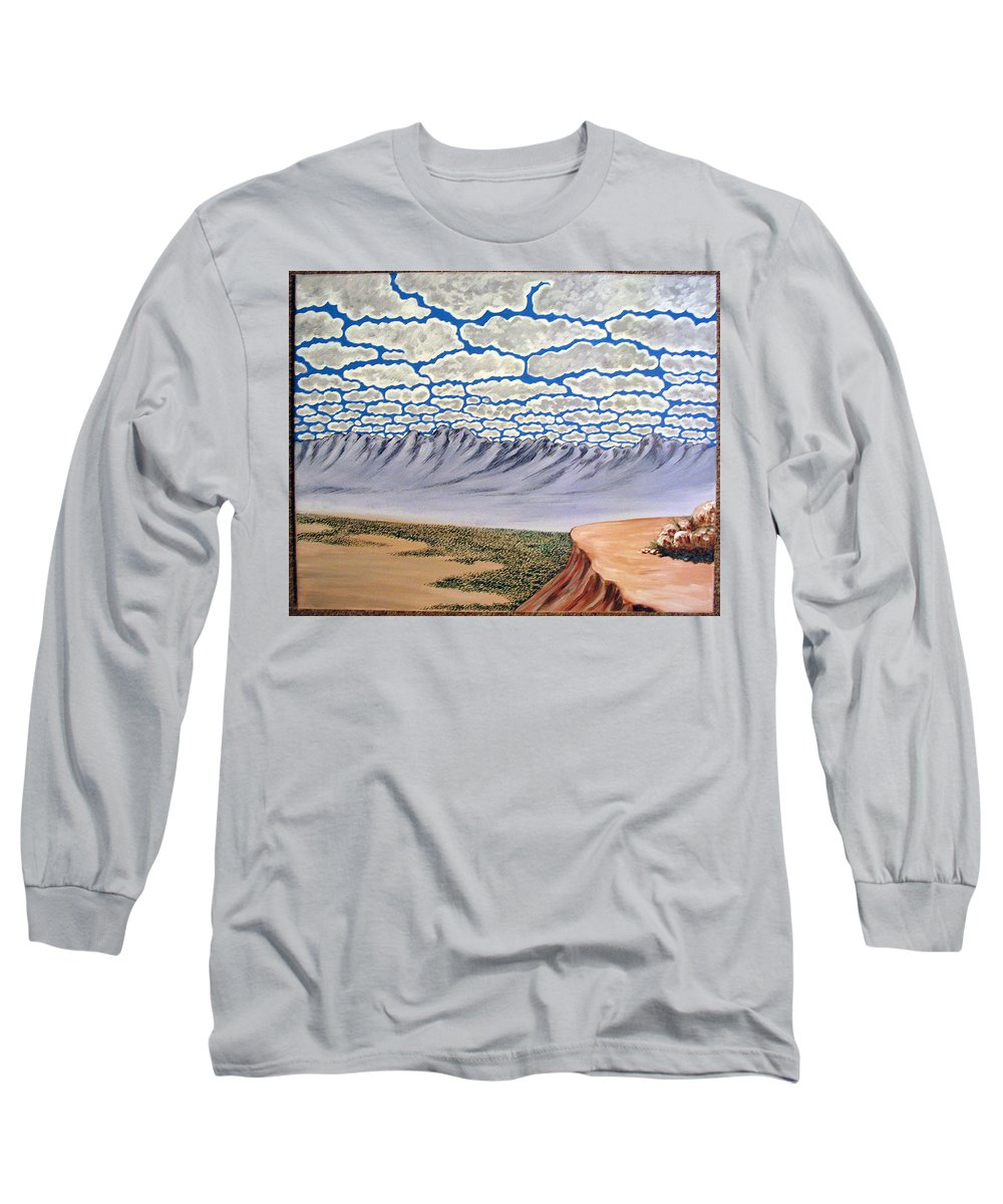 Desertscape Long Sleeve T-Shirt featuring the painting View From The Mesa by Marco Morales
