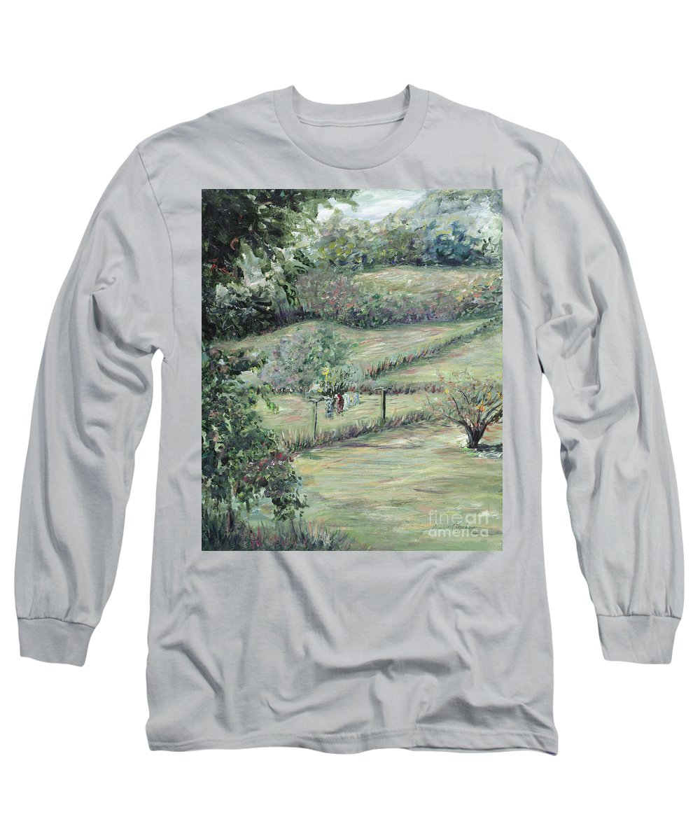 Landscape Long Sleeve T-Shirt featuring the painting Washday In Provence by Nadine Rippelmeyer