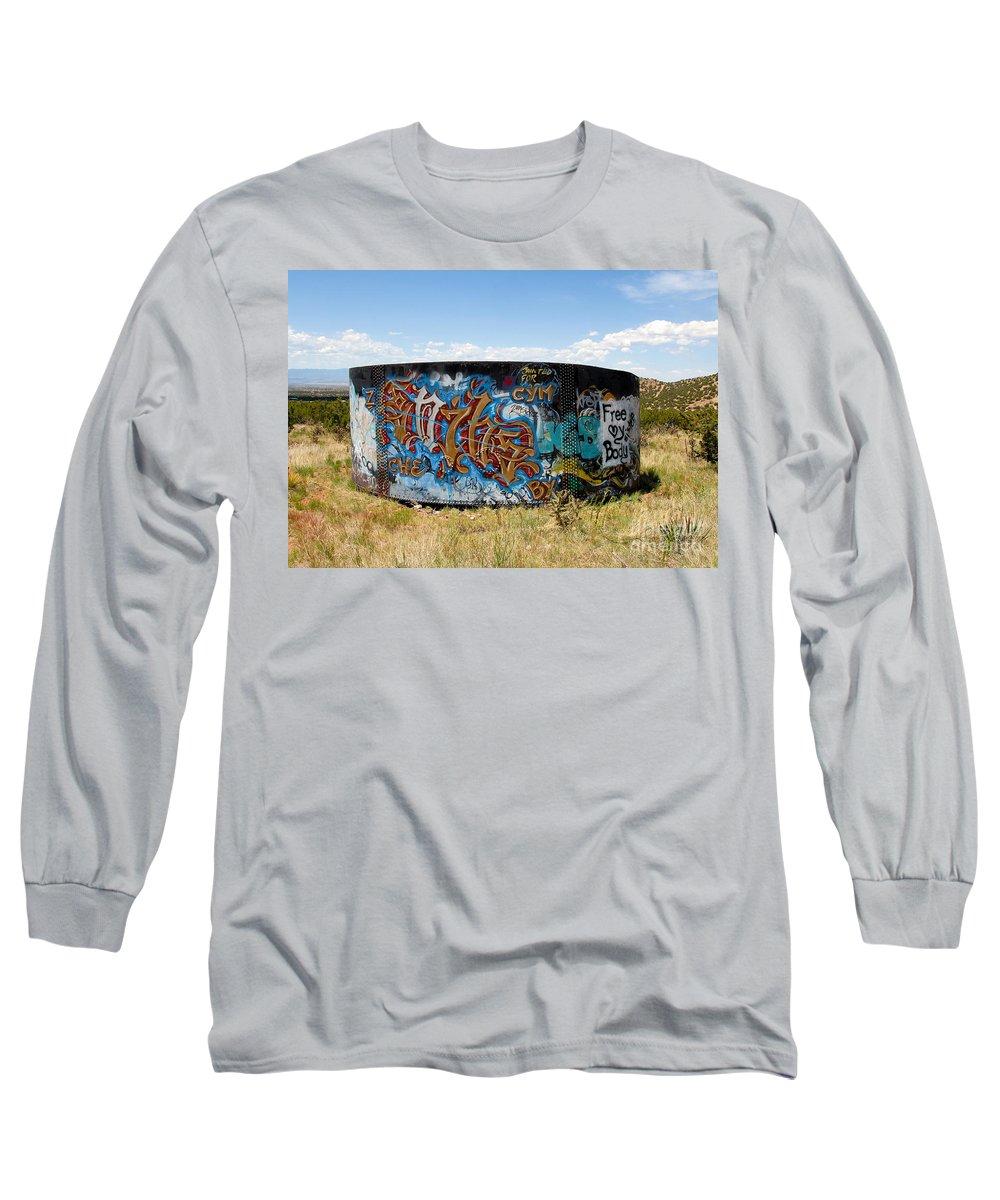 Graffiti Long Sleeve T-Shirt featuring the photograph Water Tank Graffiti by David Lee Thompson