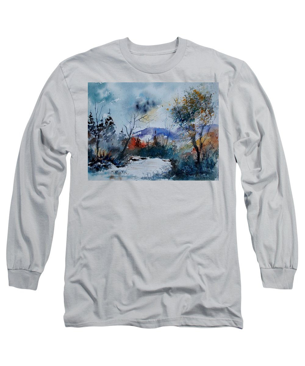 Landscape Long Sleeve T-Shirt featuring the painting Watercolor 802120 by Pol Ledent