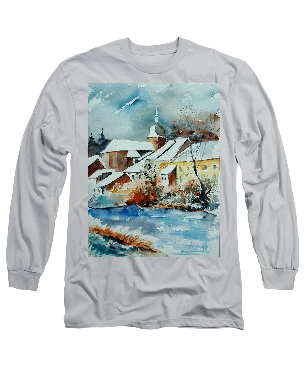 Landscape Long Sleeve T-Shirt featuring the painting Watercolor Chassepierre by Pol Ledent