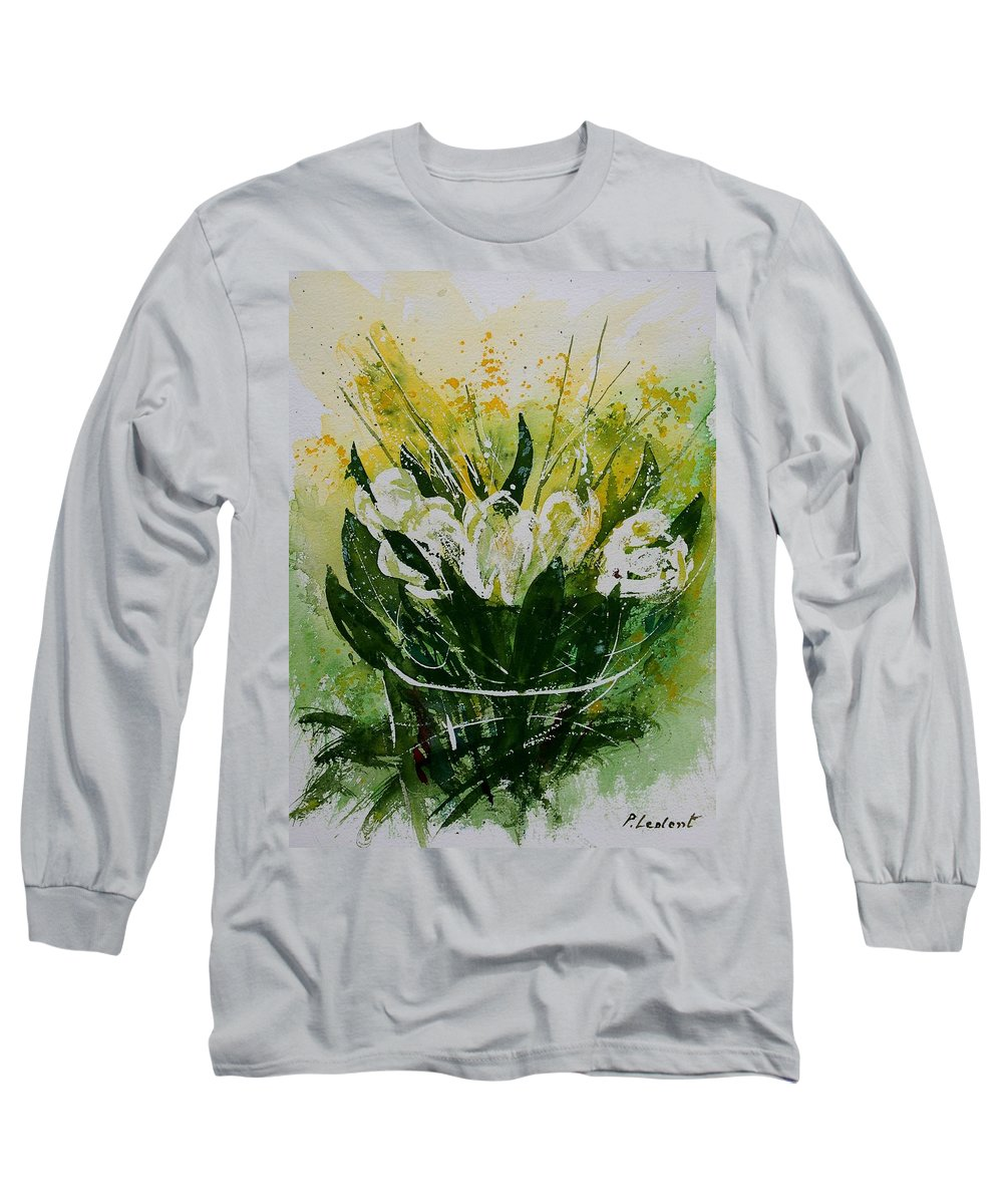 Flowers Long Sleeve T-Shirt featuring the painting Watercolor Tulips by Pol Ledent