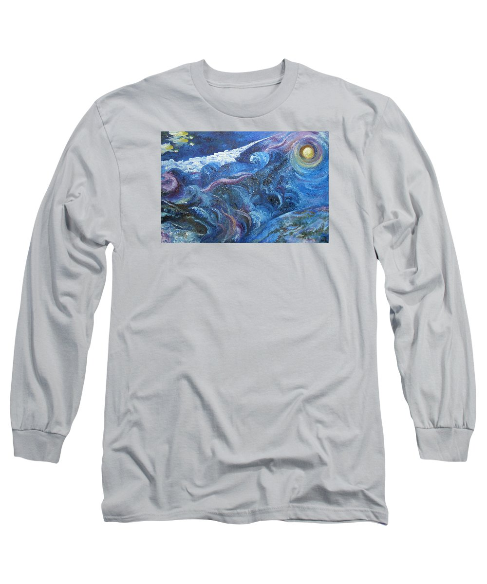 Baby Lambs Long Sleeve T-Shirt featuring the painting White Baby Lambs Of Peaceful Nights by Karina Ishkhanova