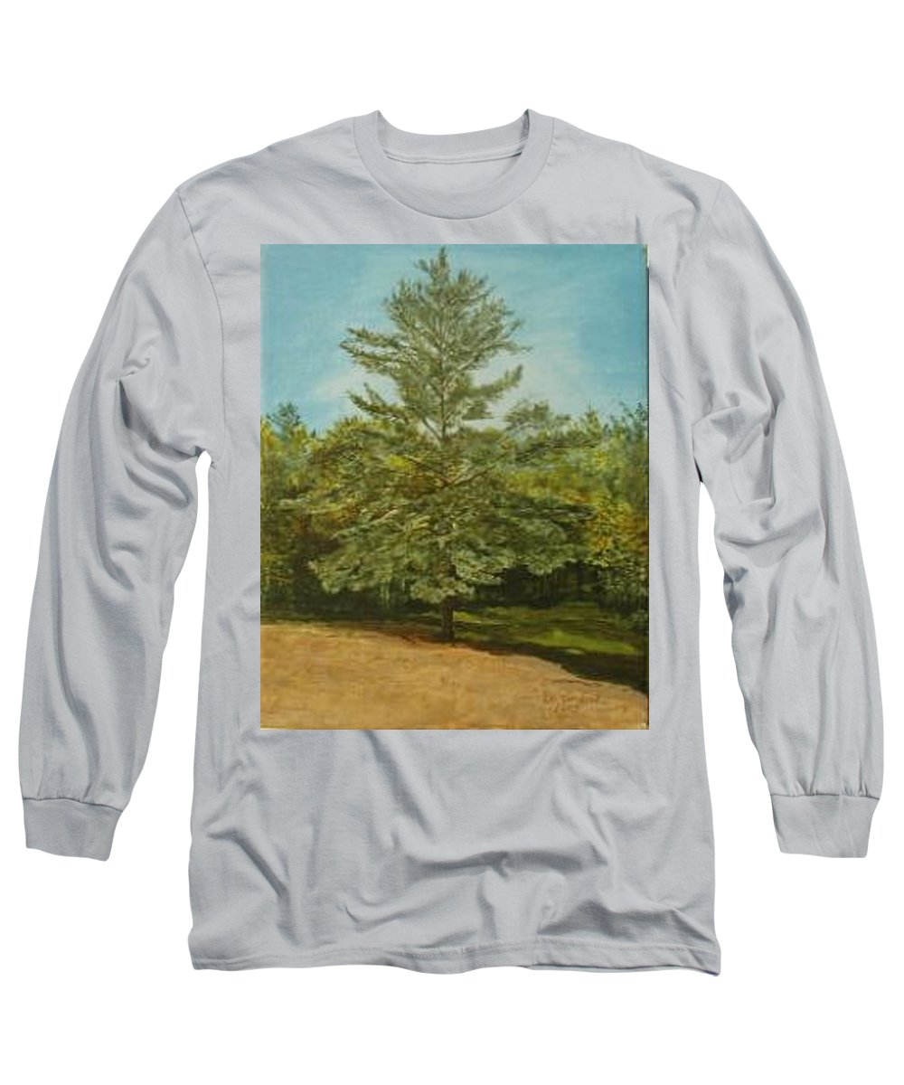 Pine Tree Long Sleeve T-Shirt featuring the painting White Lake by Leah Tomaino