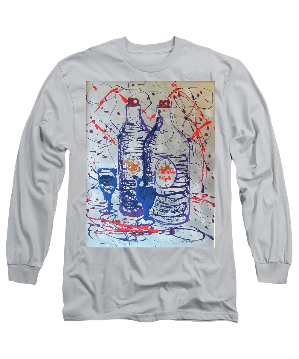 Wine Glass And Bottles Long Sleeve T-Shirt featuring the painting Wine Jugs by J R Seymour