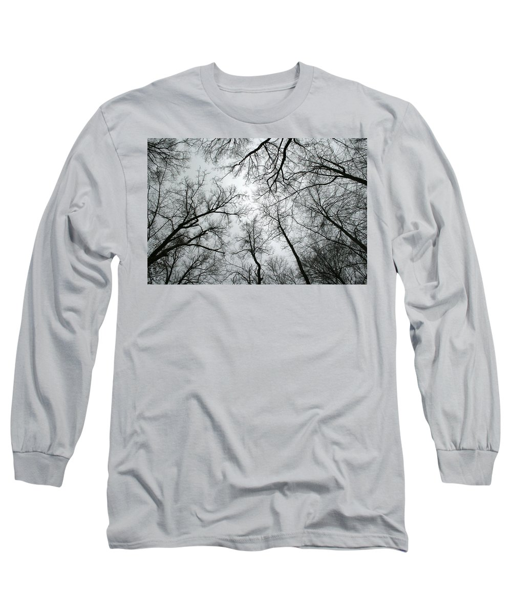 Winter Sky Tree Trees Grey Gloomy Peaceful Quite Calm Peace Cloudy Overcast Dark Long Sleeve T-Shirt featuring the photograph Winter Sky by Andrei Shliakhau