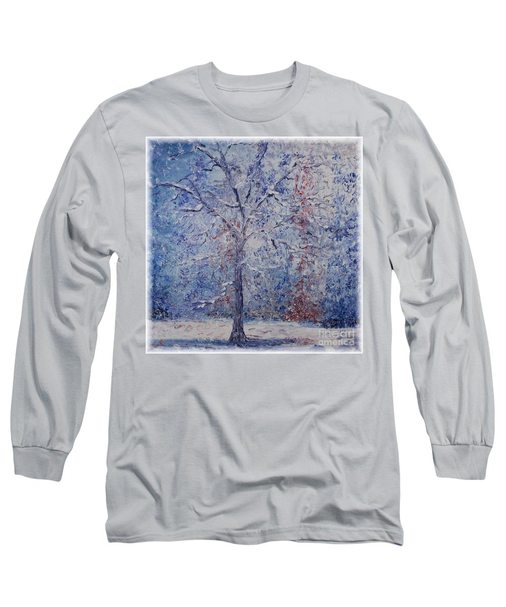 Winter Long Sleeve T-Shirt featuring the painting Winter Trees by Nadine Rippelmeyer