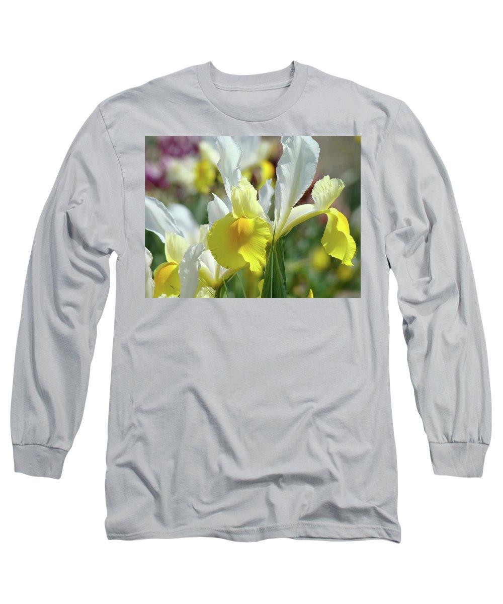 �irises Artwork� Long Sleeve T-Shirt featuring the photograph Yellow Irises Flowers Iris Flower Art Print Floral Botanical Art Baslee Troutman by Baslee Troutman