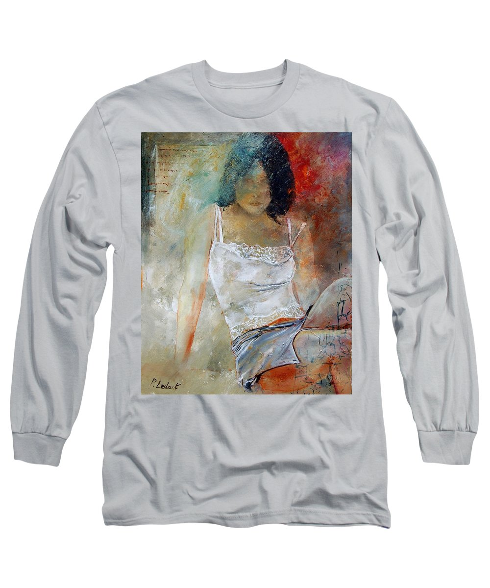 Nude Long Sleeve T-Shirt featuring the painting Young Girl Sitting by Pol Ledent